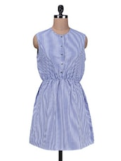 Blue Yarn Dyed Striped Polyester Dress - By