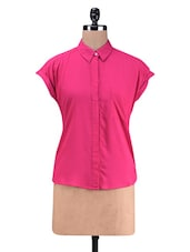 Pink Rayon Drop Shoulder Shirt - By