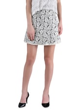 White Cotton Laced Skirt - By