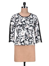 Black Printed Poly Crepe Cotton Lace Top - By