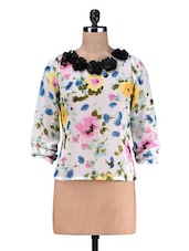 Multicolour Applique Printed Poly Georgette Floral Top - By