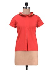 Red Poly Crepe Double Collar Top - By
