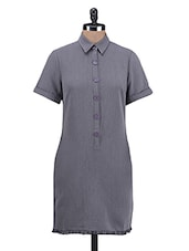 Solid Grey Polyester Dress - By