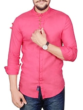 pink color, linen casual shirt -  online shopping for casual shirts
