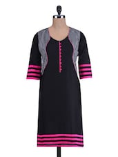 Black And Pink Cotton Printed Kurti - By