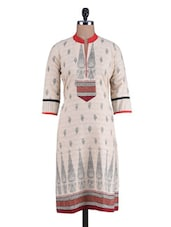 Beige Cotton Printed Kurti - By