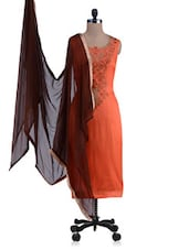 Orange And Brown Embroidered Unstitched Suit Set - By