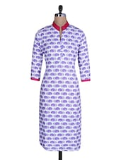 White And Purple Cotton Printed Kurti - By