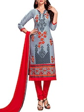 grey cotton blend straight semistitched suit -  online shopping for Semi-Stitched Suits