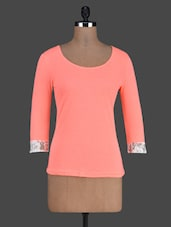 Solid Orange Long Sleeve Lace Border Top - Besiva