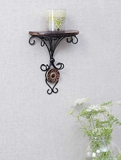 Swirl Pattern Wood & Wrought Iron Wall Bracket - By
