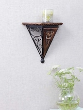 Carved Wood & Wrought Iron Wall Bracket - By