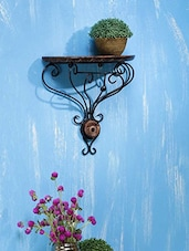 D Shaped Wood & Wrought Iron Wall Bracket - By
