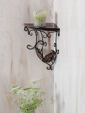 Carved Wood & Wrought Iron Corner Wall Bracket - Centenarian Art & Crafts