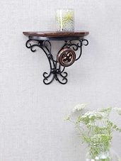 Wrought Iron & Wood Shelf Rack Wall Bracket - Centenarian Art & Crafts