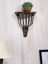 D-Shape Wood & Wrought Iron Wall Bracket - By
