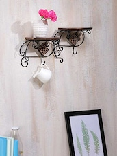 2 Tier Wood And Iron Wall Shelves Cum Bracket - By