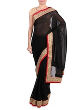 Black Faux Georgette Saree With Embroidered Border - By