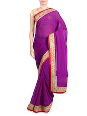 Purple Faux Georgette Saree With Embroidered Border - By