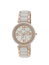 white gold color, stainless steel strap chronograph watch with stone embellishment -  online shopping for Wrist watches