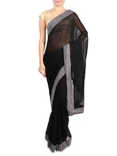 Black Faux Georgette Saree With Grey Border - Mirchi Fashion