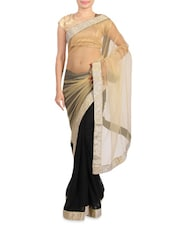 Beige And Black Saree With Shimmery Border - By