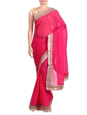 Pink Faux Georgette Saree With Gold Border - By