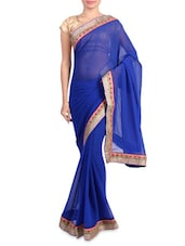 Blue Faux Georgette Saree With Gold Border - Mirchi Fashion