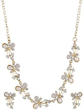 White zinc necklace and earrings set -  online shopping for Pendants