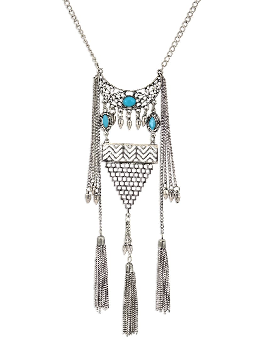 Metallic Metal Long Necklace - By