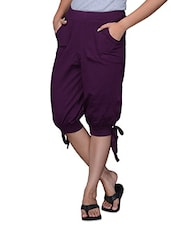 Purple Plain Cotton Capri - TSG Breeze