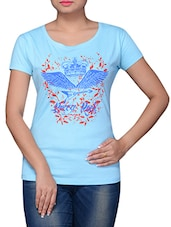 Blue Cotton Graphic Printed Top - By