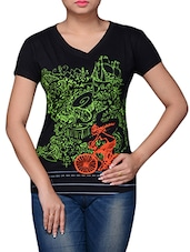 Black Cotton Graphic Printed Top - By