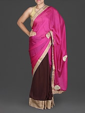 Pink And Brown Satin Crepe Saree - By
