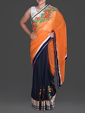 Orange And Navy Blue Embroidered Saree - Aastha