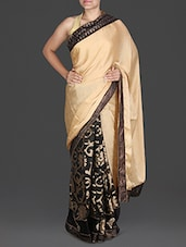 Black And Gold Crepe Saree - Aastha