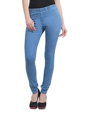 Light Blue Cotton Lycra Jeggings - By