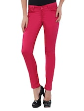 Pink Cotton Lycra Pants - By