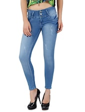 Light Blue Stretchable Denim Lycra Jeans - By