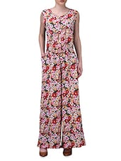 Multicolor Floral Print Sleeveless Jumpsuit - By