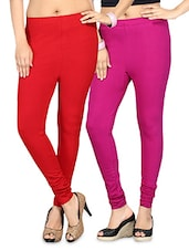 Dark Pink And Red Cotton Lycra Leggings Set - By