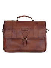 Brown Leather Laptop Bag - By