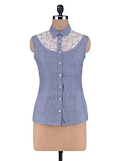 Blue Chambray And Poly Lace Shirt - By