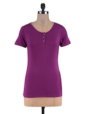 Purple Knitted Viscose Hanley Top - By