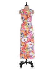 Multicolour Printed Poly Crepe Maxi Dress - By