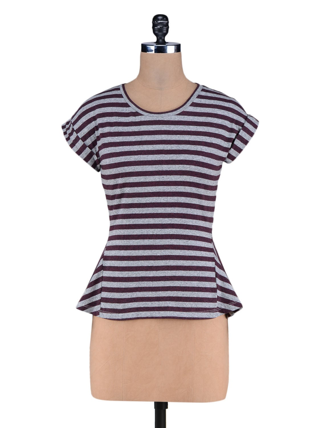 Brown Yarn Dyed Stripes Knitted Cotton Top - By