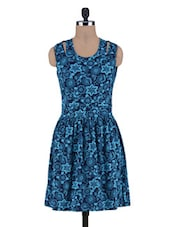 Blue Printed Knitted Cotton Dress - By
