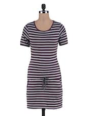 Brown Yarn Dyed Stripes Knitted Cotton Dress - By