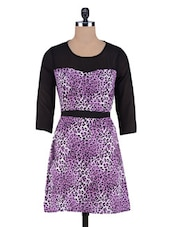 Purple Printed Poly Crepe Poly Georgette Dress - By