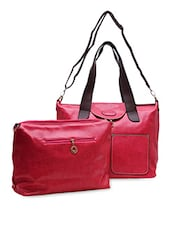 Textured Pink Leather Tote - Hawai